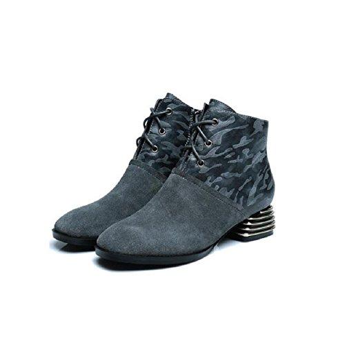 YYH Véritable milieu talon dentelle Chaussures femme Bottes Martin occasionnels Scrubs cuir gray