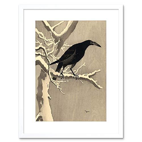 JAPAN NATURE CROW TREE SNOW SHOSON OHARA BLACK FRAMED ART PRINT B12X5130 (Black Crow Dekorationen)