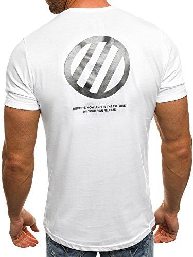 OZONEE Herren T-Shirt mit Motiv Kurzarm Rundhals Figurbetont J.STYLE SS090 Weiß