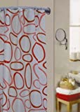 Pebble Red Water Repellent Polyester Shower Curtain Including 12 Curtain Rings
