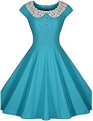 Gaoxu Vestido de manga corta de mediados de otoño de la mujer occidental, vestido, vestido de encaje, falda de media,Azul,Xl