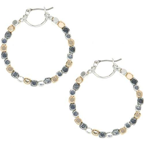mens-nine-west-bicolore-acciaio-oro-piastra-in-rilievo-orecchini-a-cerchio-60450301-z01
