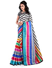 Ewows Women's Bhagalpuri Art Silk Printed Saree (SYB1009_Multicolor)