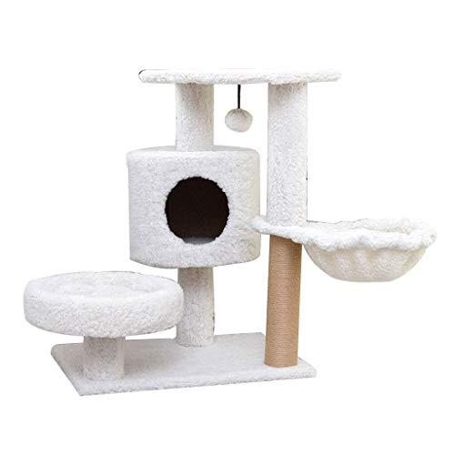 tt Katzenmatte Katzenstreu, Wolle Haar Schwert Katze Kletterplattform Kreative Haustier Haus, Heimtierbedarf Weiß (60 * 40 * 75 Cm) Gemütlich ()