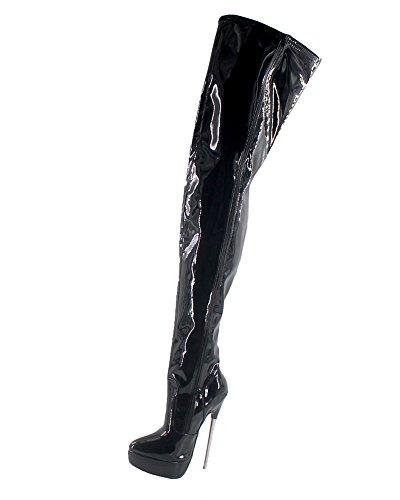 Heel Platform Knee Stiefel (Wonderheel stiletto high heel boots patent platform over-knee stiefel crotch boots)