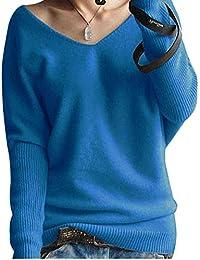 LongMing Damen Mode Kaschmir Pullover Sexy Lose Große Langen Ärmeln V- Ausschnitt Fledermausflügel Herbst und 691d016f89