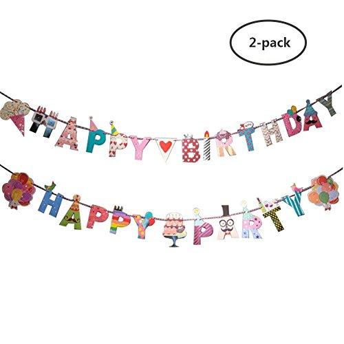 Yuccer Geburtstag Banner, Fahnen Banner Triangle Bunting Flags Hochzeit Party Dekorationen für Mädchen Bunte Baby Shower Gift (A)