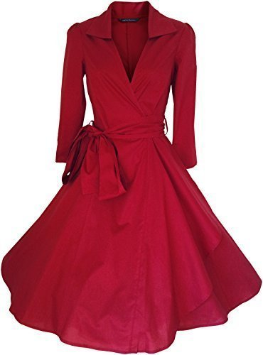 Pin 40er 50er Kostüm Up - Vintage 40er 50er Stil Rockabilly / Swing / Pin up Baumwolle Gewickelt Abend Party Cocktail Kleid Größe 4 - 28 UK Verkäufer - für bestellungen platziert vor 3pm groß Auswahl an Farben - Rot, 40