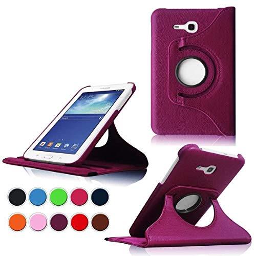 Case für Samsung Tab 3 Lite 7.0,Lila 360° Drehbares Ledertasche Schutzhülle Leder Tasche Samsung Galaxy Tab 3 Lite 7.0 T110 T111 (7 Zoll) Hülle Leder Etui Flip Case Cover mit Schwenkbar flexiblem Ständer -