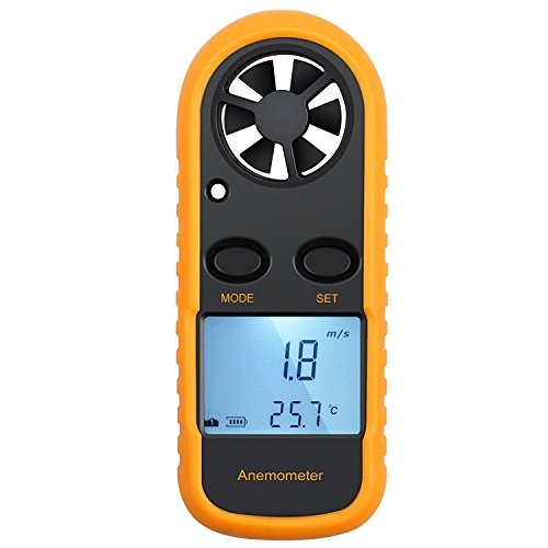 KanCai Anemómetro Termómetro Digital de Pantalla LCD Medidor de Velocidad Viento Aire con Luz de Fondo...