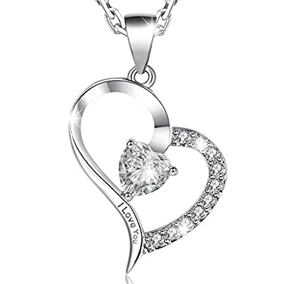 Valentine Gifts-MARENJA Crystal-Women's Necklace with Heart Pendant Engraved with I Love You White Gold plated - Preserved Fresh Rose in the Jewelry Box- Gifts for Women