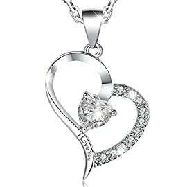 MARENJA-Mother's Day Gift Women's Fashion Necklace-Heart Pendant Engraved I Love You with Chain and Preserved Fresh Rose in Jewellery Box-White Gold Plated Crystal Jewellery
