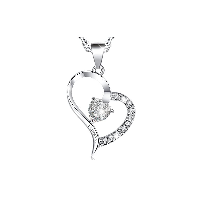 Marenja-Women's Fashion Necklace-Heart Pendant Engraved I Love You with Chain and Preserved Fresh Rose in Jewellery Box…