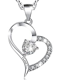 MARENJA-Valentine Gifts Women's Fashion Necklace-Heart Pendant Engraved I Love You with Chain and Preserved Fresh Rose in Jewellery Box-White Gold Plated Crystal Jewellery