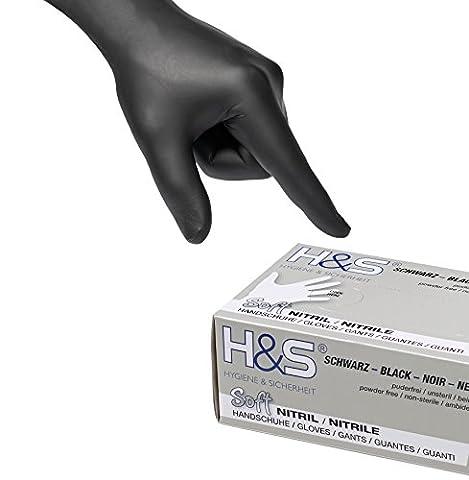 100 Stück schwarze Nitrilhandschuhe von H&S (Größe XL = 10, schwarz) | puderfreie, latexfreie und unsterile Nitril Einweg Handschuhe und Untersuchungshandschuhe in Klinikqualität |Tätowierhandschuhe - Tattoo Handschuhe | S Small M Medium L Large XL X-Large XXL verfügbar | * AKTION * REDUZIERT *