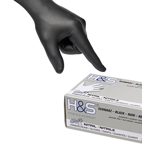 100 Stück schwarze Nitrilhandschuhe von H&S (Größe S = 7, schwarz) | puderfreie, latexfreie und unsterile Nitril Einweg Handschuhe und Untersuchungshandschuhe in Klinik-Qualität, medizinische Schutzhandschuhe EN455 | Tätowierhandschuhe - Tattoo Handschuhe | S Small M Medium L Large XL X-Large XXL verfügbar | * AKTION * REDUZIERT * (Die Arbeit Handschuh Der Qualität)
