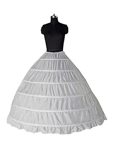 Clocolor A-Line Mujer Enagua Miriñaque Blanca de la boda accesorios de la boda Enagua Falda paseo nupcial de 6 aros vestido de novia