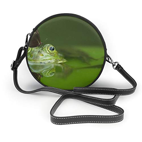 Wrution Damen Schultertasche mit Schmetterlingsmotiv, grüner Frosch, personalisierbar, rund, mit Reißverschluss, weiches Leder -