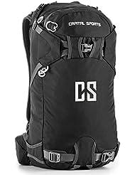 Capital Sports CS 30 Black Mochila deportiva 30l impermeable nailon negro (Gran cantidad de correas y espalda reforzada para una elevada comodidad durante sus actividades deportivas, de ocio o en el trabajo)