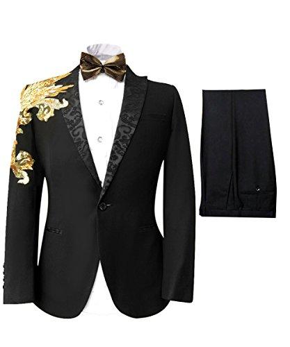 Cloudstyle Haut de costume deux-pièces une bouton veste+pantalon affaires décontraction mariage et animateur-rabattre collet Noir 5