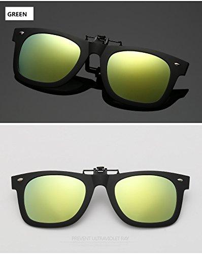 YHW-GLASSES-0819 Gläser Polarisierte Brille Clip Driving Vision Objektiv Anti-UVA Anti-UV Radfahren Reiten Sonnenbrille Clip YHWCUICAN (Color : Green) -