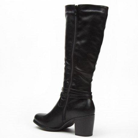 Ideal Shoes - Bottes en similicuir avec doubles ceinturons Calysta Noir