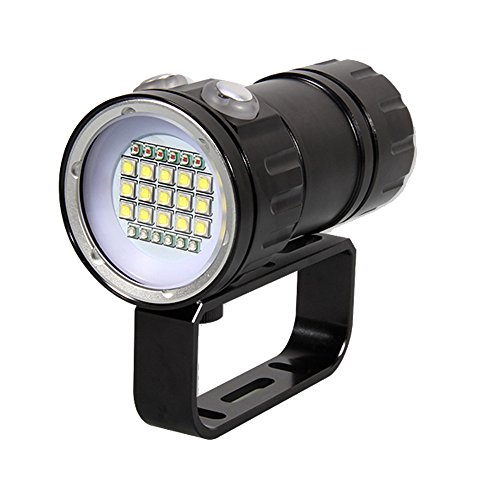 Linterna de Buceo, Heligen 18000 Lúmenes Linterna de Submarinismo, LED Profesional de Buceo 80M, Impermeable 3 Modes