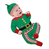 TINGSU - Conjunto de ropa de bebé de Papá Noel, para niños, gorro de peluquería o regalo de Navidad (0 – 6 meses, verde) 12-18 meses verde