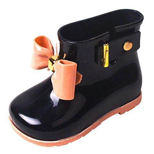 Stiefel Kinder Schwarze (Mädchen Kurz Gummistiefel Jungen Weich Regenstiefel Wasserdicht Kinder Stiefel Baby Regen Boots mit Schleife, Schwarz)