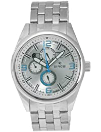 Sinobi SS0048GA-1 - Reloj analógico de caballero de cuarzo con correa de acero inoxidable plateada