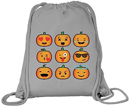 ShirtStreet Partner Gruppen Pumpkin Premium Bio Baumwoll Turnbeutel Rucksack Stanley Stella Halloween Emojis, Größe: onesize,Heather Grey