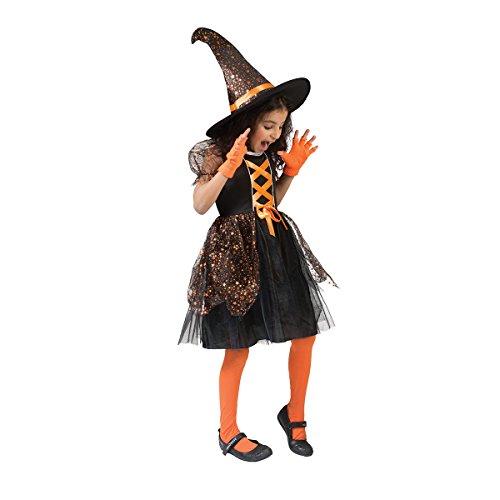 Kostümplanet® Hexenkostüm Kinder mit Hut Mädchen Hexen Kostüm Halloween Hexe schwarz-orange 104 (Halloween Hüte Für Kinder)
