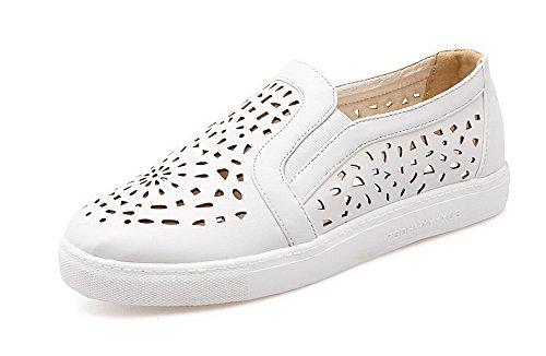 VogueZone009 Femme à Talon Bas Couleur Unie Tire Matière Souple Rond Chaussures Légeres Blanc