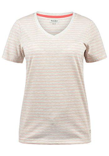 DESIRES Melina Damen T-Shirt Kurzarm Streifenshirt Shirt Mit V-Ausschnitt, Größe:L, Farbe:Pale Blush (4109)