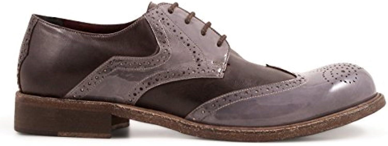 LEONARDO SHOES Hombre 84027PAPUATMORO Beige Cuero Zapatos De Cordones -