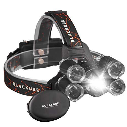 Phare LED lumineux 4 Modes Phare, Rechargeable 5 phares à LED Zoomable Phare Noir Gris Meilleur Pour Camping, Randonnée, Cyclisme, Courir, Promenade, Pêche, Lecture de nuit, Travaux de bricolage