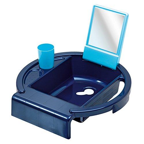 dy Wash Kinderwaschbecken / Waschtisch für Kinder ab 12 Monate mit Spiegel, Ablaufstopfen & Handtuchhalter / inkl. Zahnputzbecher / Perl Blue/Aquamarine (Badewanne Für 2 Jährige)