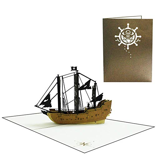 Sweetpopup 3D Handmade Grußkarten - Pop Up Karten Glückwunschkarten für Geburtstag Einladungen Jubiläum Gutschein Vatertag Firmenkarten (Piraten Schiff 2)
