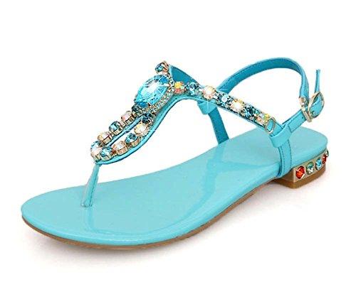 L&Y Scarpe da donna in cuoio estivo Scarpe da spiaggia in pelle color Sweet Ladies Roman Sandals Blu