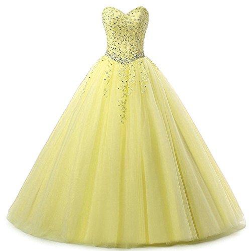 Zorayi Damen Liebsten Lang Tüll Formellen Abendkleid Ballkleid Festkleider Gelb Größe 32
