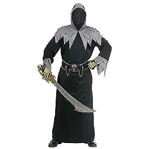 WIDMANN 56613 - Disfraz Adulto Cráneo del Señor de la Guerra, túnica con Capucha y máscara, cinturón con Hebilla y Cadenas cráneo, Talla L
