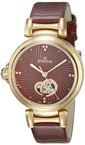Edox Women's La Passion 33mm Red Leather Band Automatic Watch 85025 37RC ROUIR
