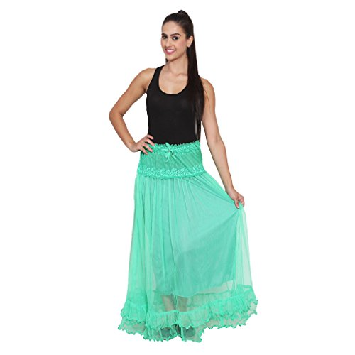 NumBrave Green Long Flared Skirt