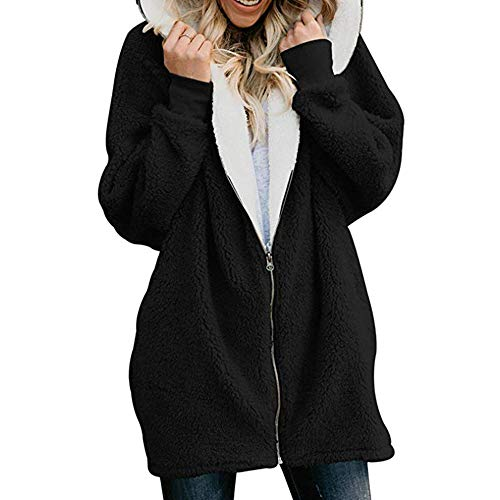 MIRRAY Damen Solide Oversized Zip Down mit Kapuze Flauschige Mantel Cardigans Jacken Outwear mit ()