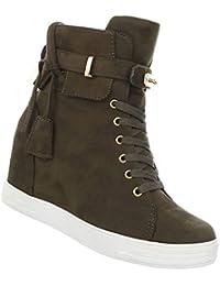 20b83ff63b Damen Stiefelette   Keilabsatz Ankle Boots   Wedges Stiefel Versteckter  Plateau   Booties mit Schloss   Schnürstiefel  …