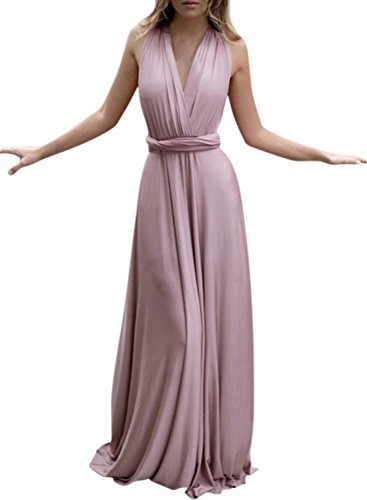 Azbro Women's Sleeveless Backless Solid Long Prom Dress Pink