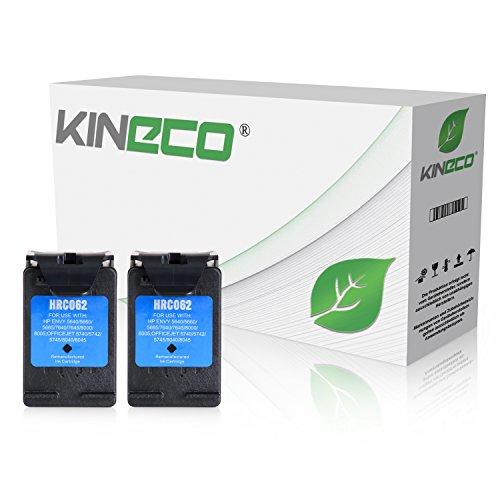 2 Kineco Tintenpatronen kompatibel zu HP 62XL für HP Envy 5540 5600 Series, 7600 Series, Officejet 5740, 8000 Series - Schwarz je 12 ml