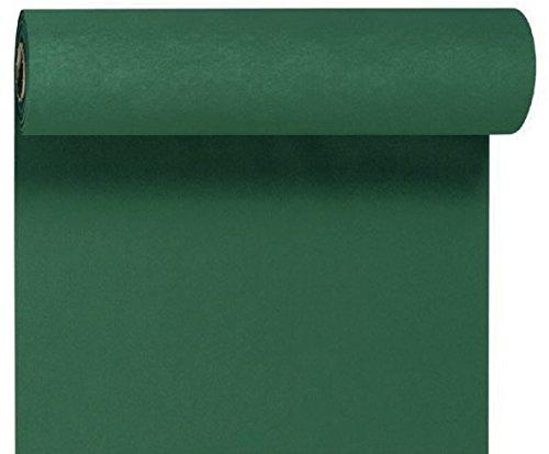 Duni Tête-à-Tête-Tischläufer aus Dunicel alle 120 cm perforiert, Uni jägergrün, 40 x 2400 cm