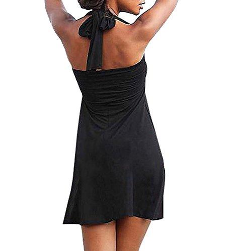 Damen Sommer Kleid Plus Size Badeanzug Strand Kittel Übergröße Bikini-Vertuschung Partykleid Schwarz Schwarz