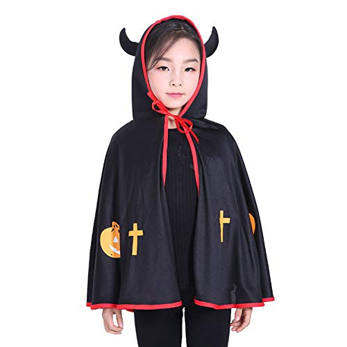 Cosanter Halloween Umhänge Kleiner Teufel Mäntel für Kinder Junge und Mädchen Make-up Party Kostüm (Mädchen Teufel Kostüm Makeup)